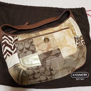 Brown and gold Coach hobo style purse